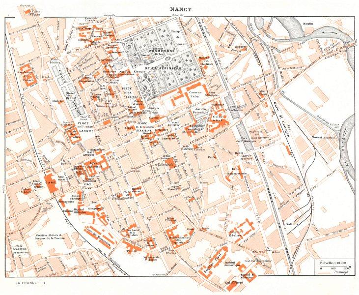 Associate Product MEURTHE- ET- MOSELLE. Nancy 1900 old antique vintage map plan chart