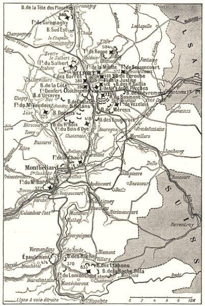 Associate Product TERRITOIRE DE BELFORT. Camp Retranché de Belfort 1900 old antique map chart