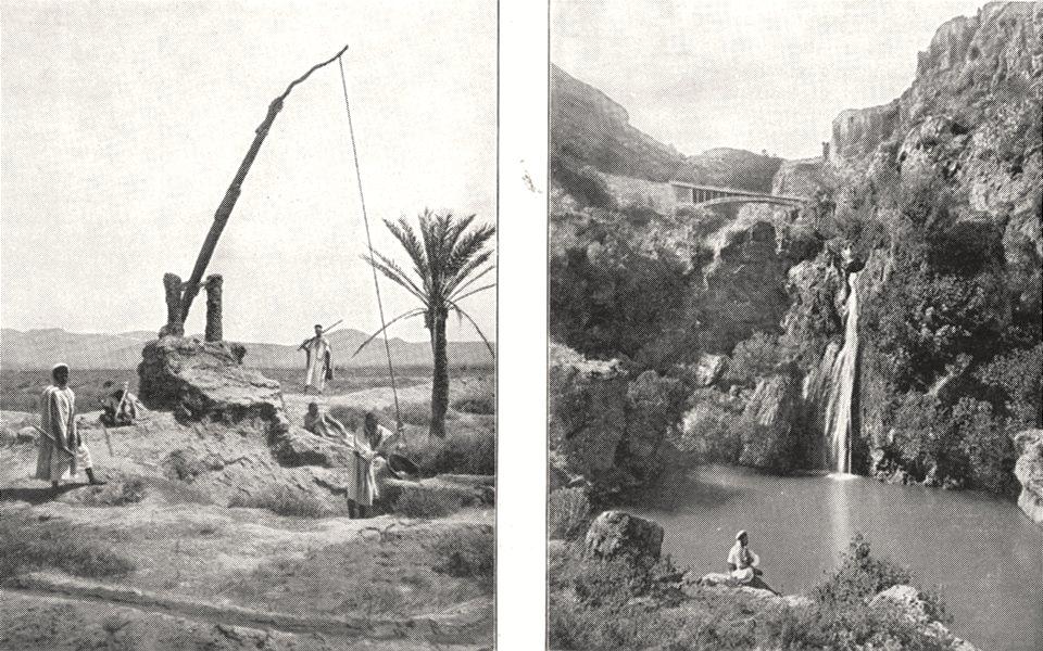ALGERIA. Puits D'irrigation Zibane; Tlemcen. Cascade D'el- ourit 1900 print