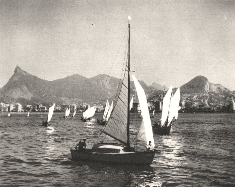 Associate Product BRAZIL. Rio de Janeiro. Pêcheur Fishing 1951 old vintage print picture