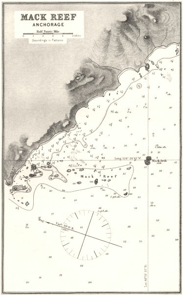 OREGON. Sea chart of Mack Reef Anchorage 1881 old antique map plan
