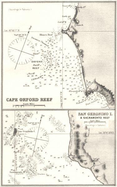 Associate Product OREGON.Sea chart of Cape Orford Reef;San Geronimo I.& Sacramento Reef 1881 map