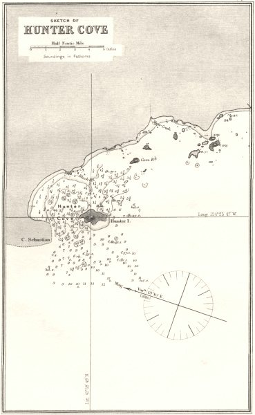 Associate Product OREGON. Sea chart of Sketch of Hunters Cove 1881 old antique map plan