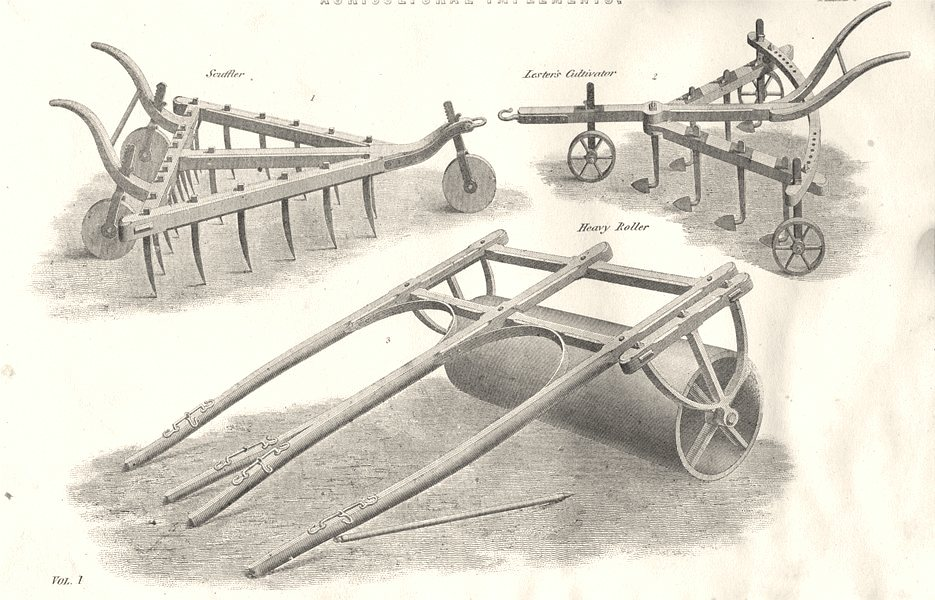 Associate Product FARMING. Agricultural Implements; Scuffler; Lester's Cultivator; Roller 1880