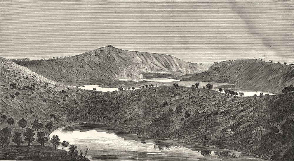 Associate Product AUSTRALIA. Australia.  (Mount Gambier, middle and valley lake craters)  1880