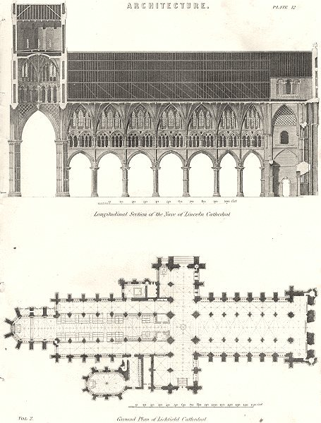 Associate Product LINCOLNSHIRE. Nave of Lincoln cathedral; plan Lichfield 1880 old antique print