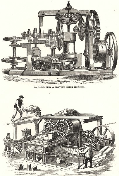 Associate Product DEVON. Brick machines; - Bradley & Craven's machine; - Clayton's 1880 print