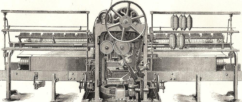 TEXTILES. Cotton Spinning; Platt's self- acting mule- back Elevation 1880