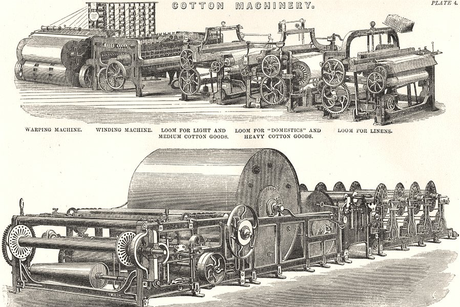 Associate Product COTTON MACHINERY.Warping,Winding;Loom linens;Harrison's Slasher-Sizeing 1880