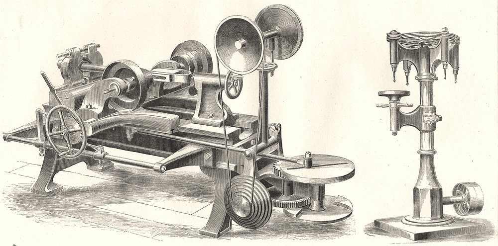 Associate Product DRILLING MACHINES. Shanks double- acting Mortice Groove Machine; Shank's 1880