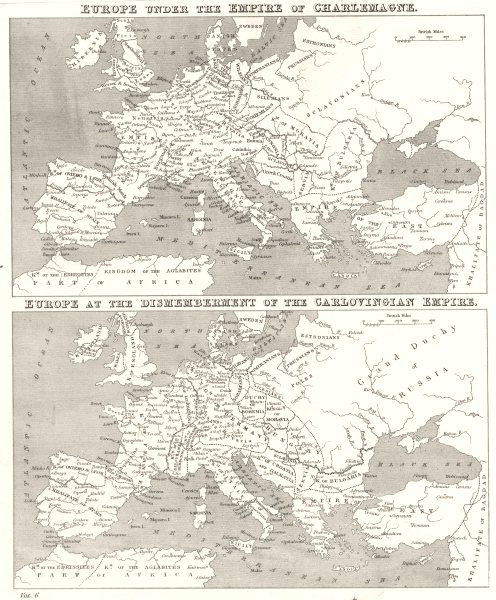 Associate Product EUROPE. Under Empire of Charlemagne; at break up Carlovingian 1880 old map