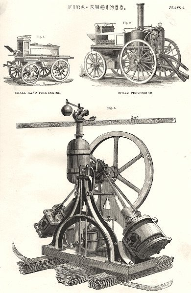 FIRE- ENGINES. Hand; Steam; Floating- engine- Perspective elevation 1880 print