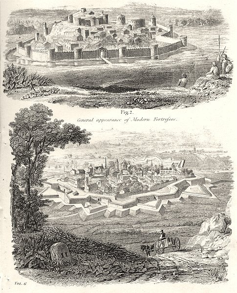 Associate Product FORTS. Fortification; Ancient Modern Fortresses 1880 old antique print picture