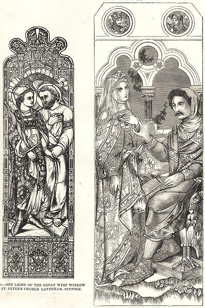 Associate Product GLASS PAINTING.St.Peter's Church, Lavenham, Suffolk;Tennyson's Idylls Kings 1880