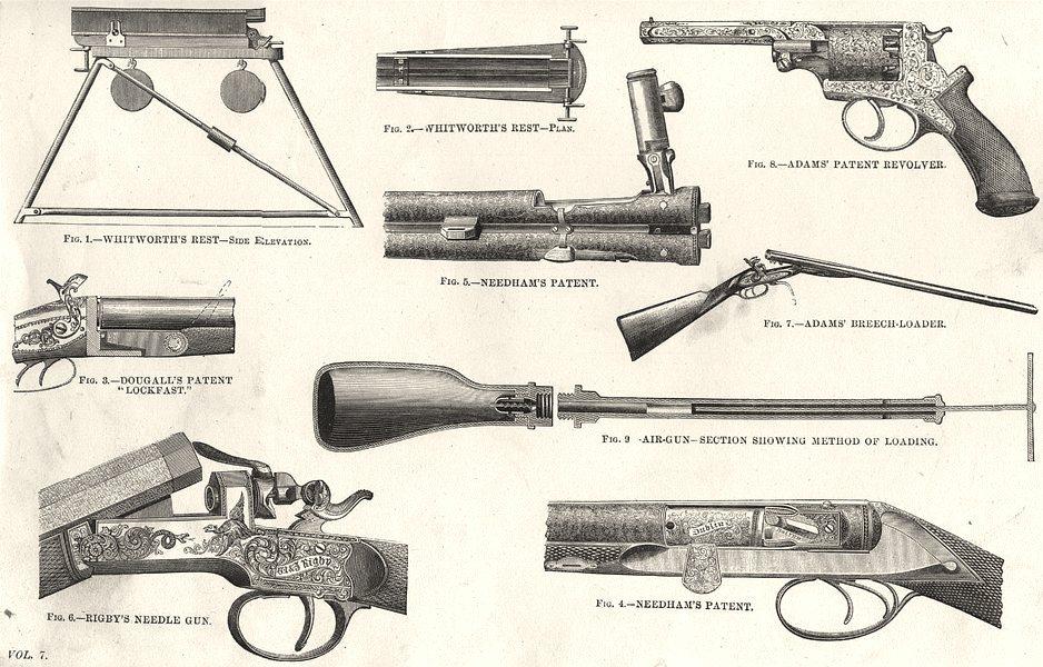 Associate Product GUNS.Whitworth;Dougall Lockfast;Needham;Rigby;Adam Breech-loader;Revolver 1880