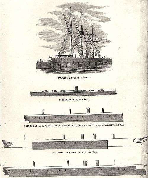 Associate Product IRON-CLADS.Royal Oak,Caledonia,Warrior Black prince;Minotaur,Agincourt 1880