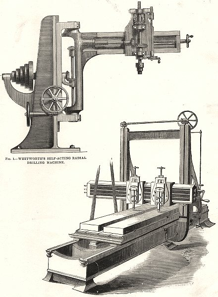 Associate Product PLANING DRILLING MACHINES. Whitworth's self- acting radial Machine; Muir's 1880