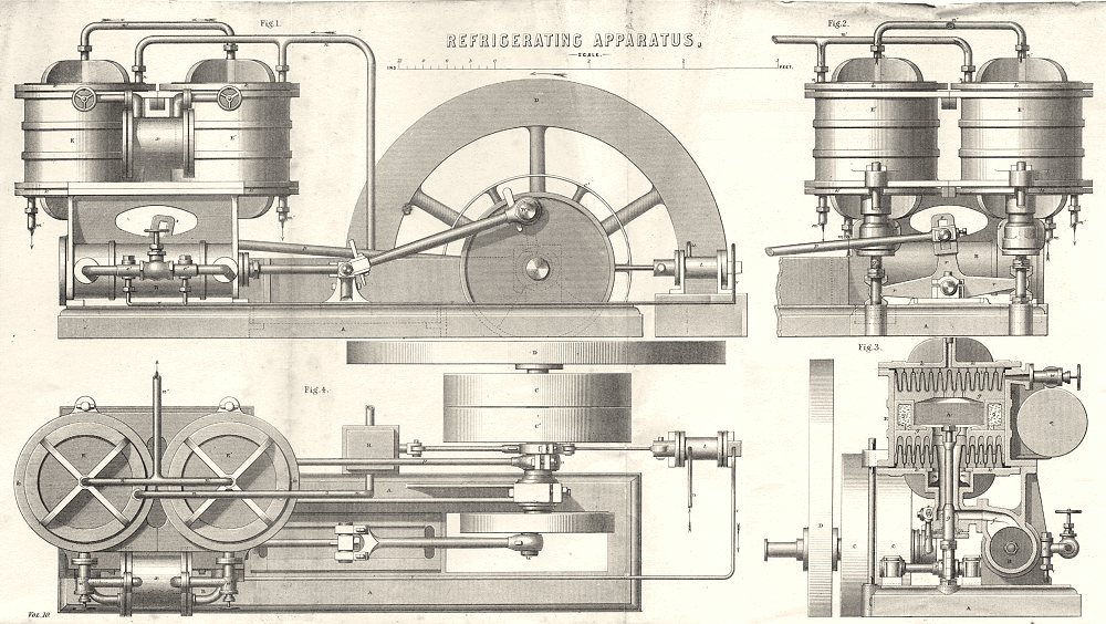 Associate Product SCIENCE. Refrigerating Apparatus 1880 old antique vintage print picture