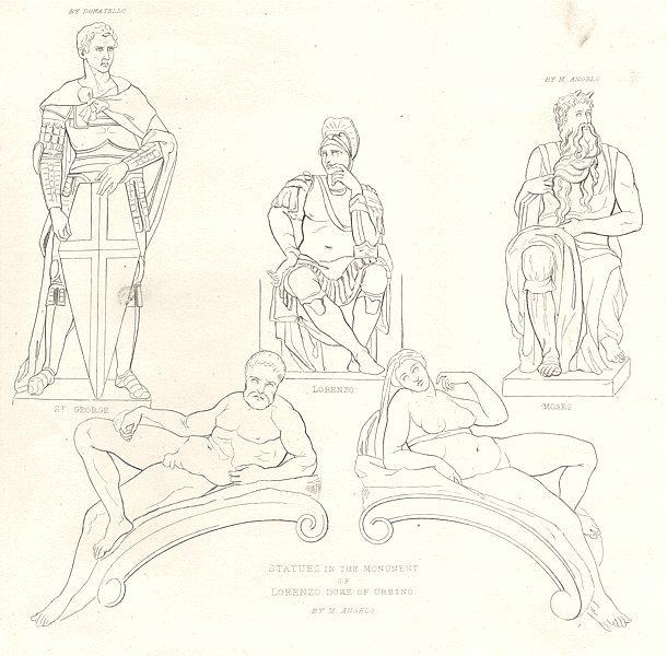 Associate Product SCULPTURE ITALIAN. St. George; Lorenzo; Moses; Statues, Duke Urbino 1880 print