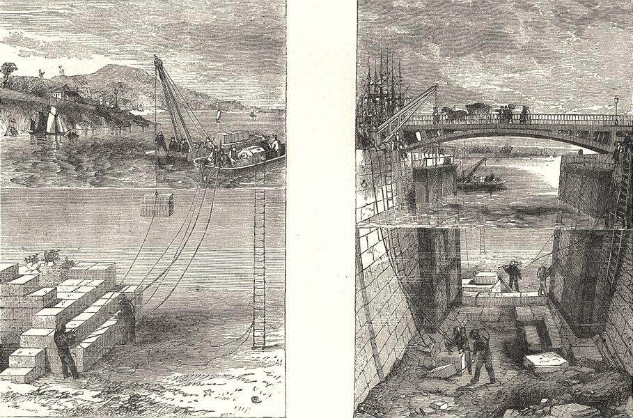 Associate Product BLDGS. Submarine Locomotion. building breakwater; - Repairing floor lock 1880