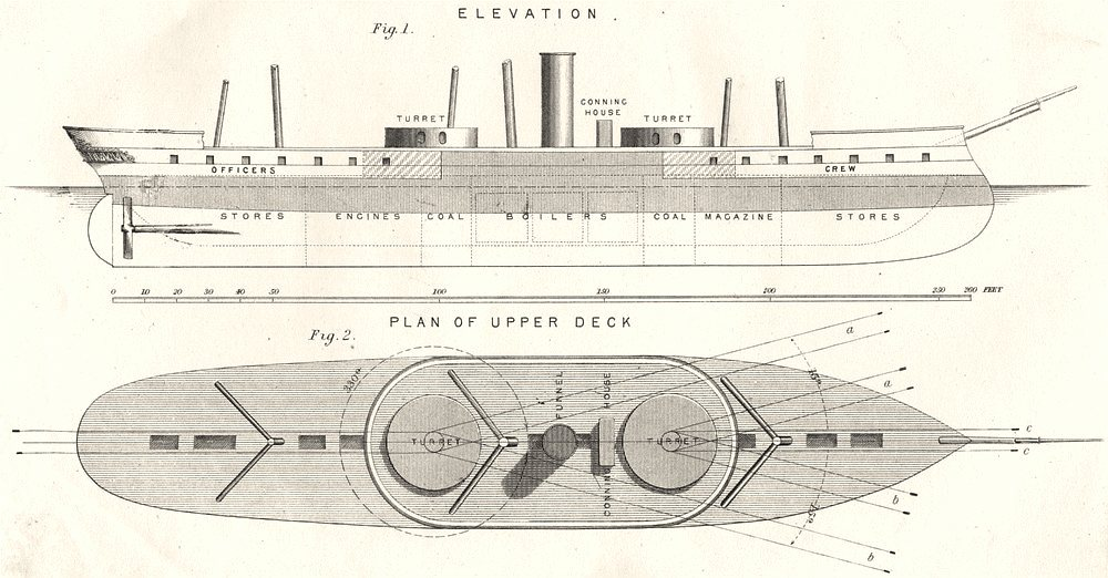 Associate Product SHIPS. Turret- ship; Fig. 1 Elevation; Fig. 2 Plan of upper Deck 1880 print