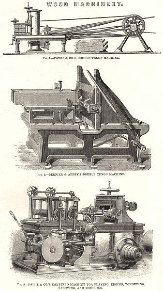 Associate Product WOOD MACHINERY. Powis; Bernier Arbey double tenon machine; planing, edging 1880