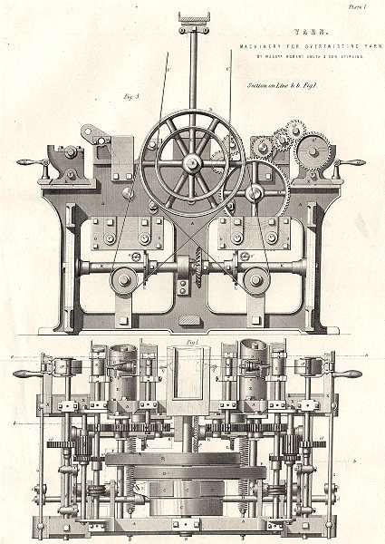 Associate Product ENGINEERING. Yarn machinery for overtwisting yarn (1)  1880 old antique print