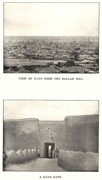 Associate Product NIGERIA. View of Kano from the Dallah hill; A Kano gate 1904 old antique print