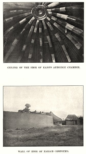 NIGERIA. Ceiling of Emir Kano's Audience Chamber; Wall Zaria's Compound 1904