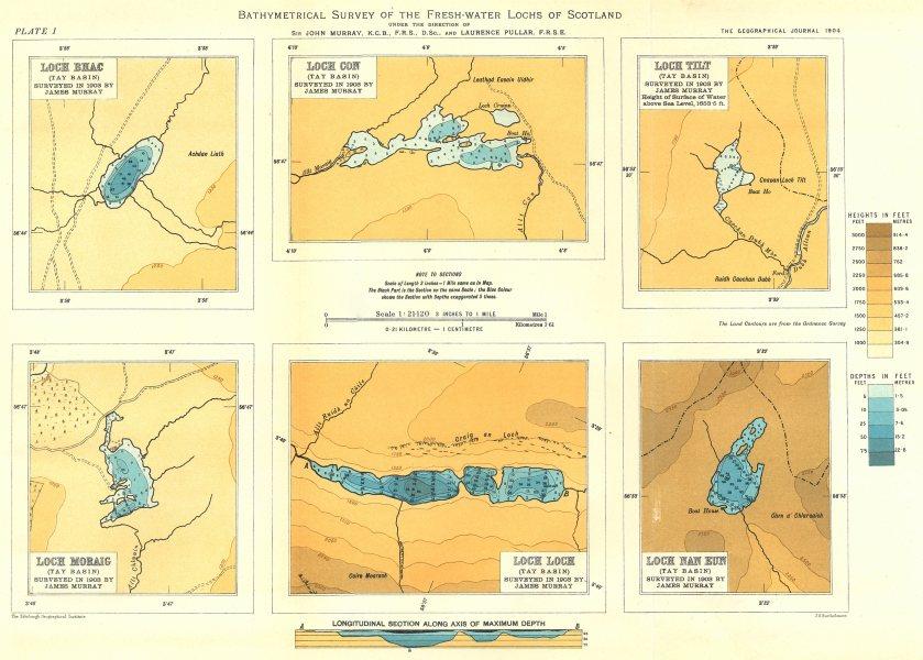 Associate Product SCOTLAND LOCHS. Loch Loch, Bhac, Con, Tilt, Moraig, Nan Eun. RGS 1904 old map