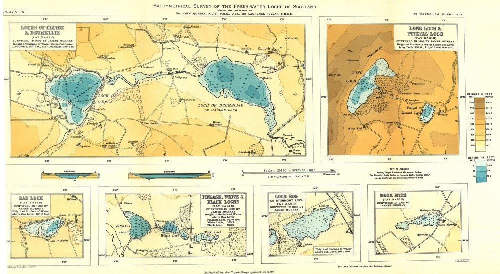 Associate Product SCOTTISH LOCHS.Clunie Drumellie;Long Pitlyal;Rae;Fingask,White Black 1904 map