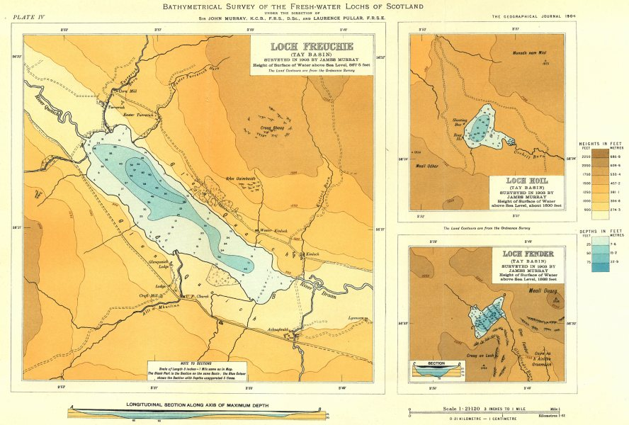 Associate Product SCOTTISH LOCHS. Loch Freuchie; Loch Hoil; Loch Fender. RGS 1904 old map