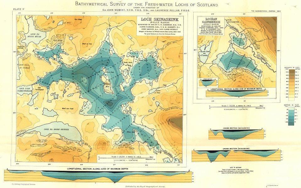 SCOTTISH LOCHS.Loch Skinaskink(Polly Basin);Lochan Gainmheich. RGS 1904 map