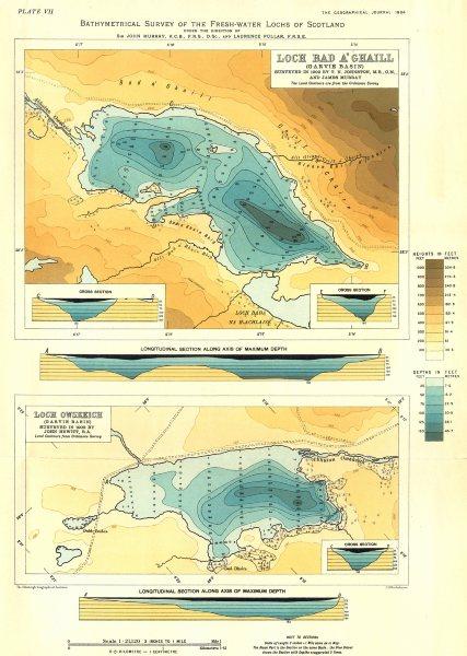 Associate Product SCOTTISH LOCHS. Loch Bad A'Ghaill; Loch Owskeitch (Garvie Basin) . RGS 1904 map