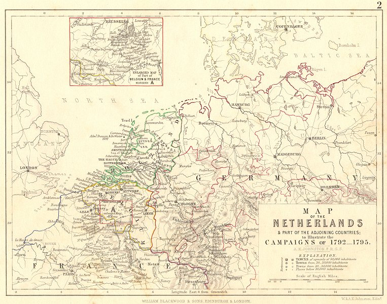 Associate Product NETHERLANDS & Belgium. Military campaigns of 1792- 1795. France 1848 old map