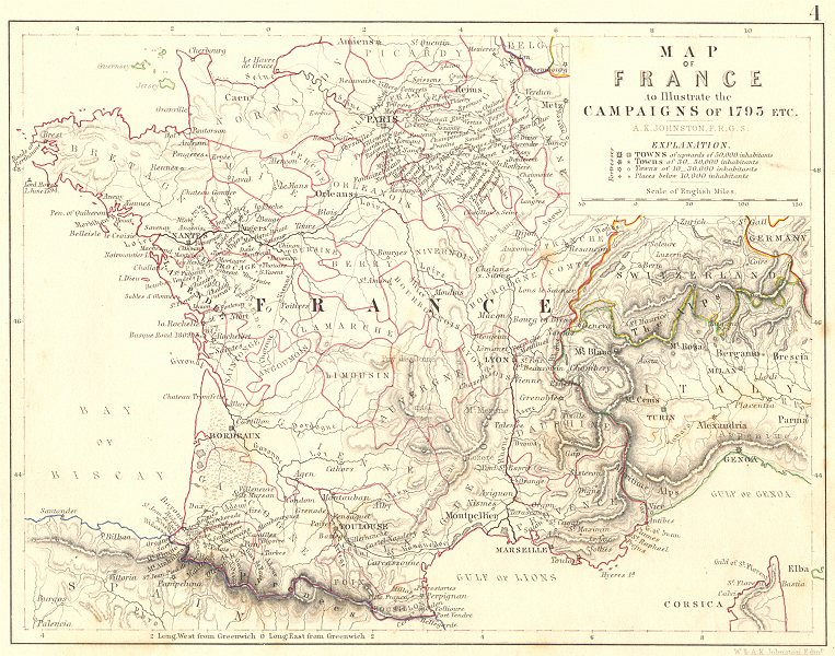 Associate Product FRANCE. Map of France to illustrate the Campaigns of 1795 etc 1848 old