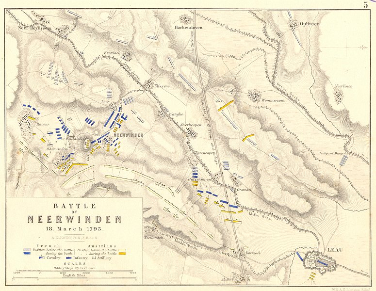 Associate Product BATTLE OF NEERWINDEN. 18 March 1793. Belgium. French Revolutionary Wars 1848 map