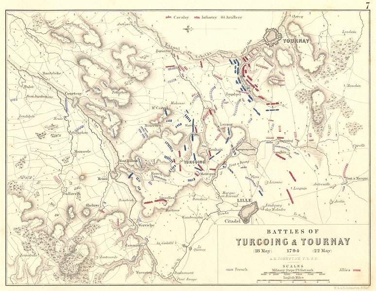 Associate Product BATTLES OF TURCOING & TOURNAY. 18-22 May 1794. Nord. Lille 1848 old map