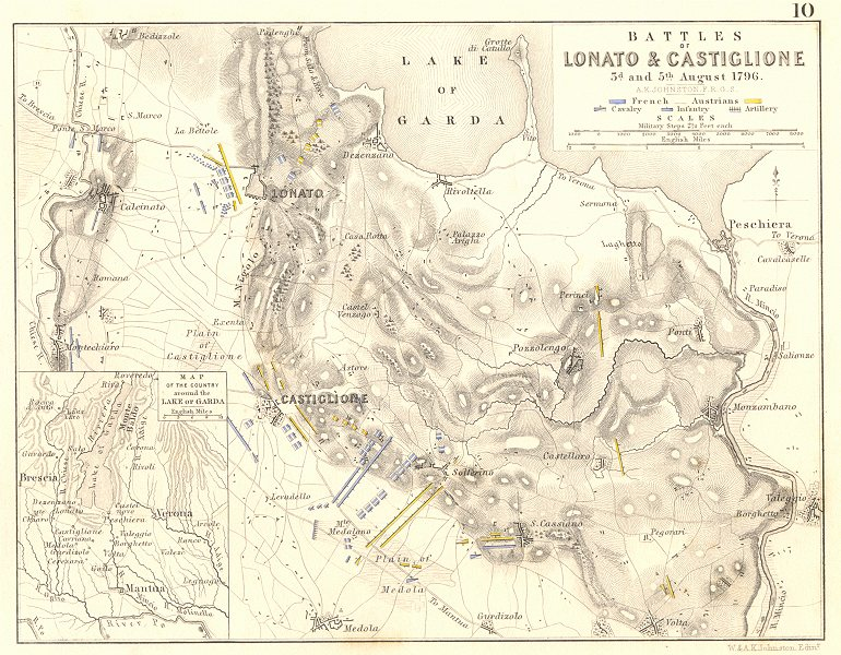 Associate Product BATTLES OF LONATO & CASTIGLIONE. 3rd & 5th August 1796. Italy 1848 old map