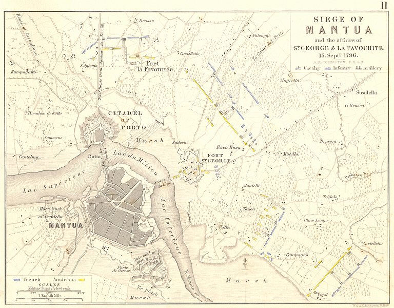 Associate Product SIEGE OF MANTUA. ST GEORGE & LA FAVOURITE. 15 Sept 1796. Italy 1848 old map