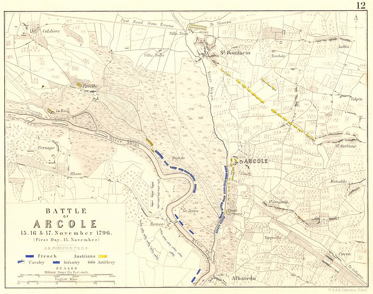Associate Product BATTLE OF ARCOLE 15TH. 16th, and 17th November 1796 - sheet 1. Italy 1848 map