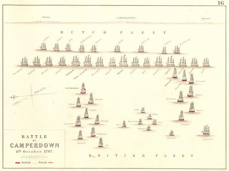 Associate Product BATTLE OF CAMPERDUIN (CAMPERDOWN). 11th October 1797. Netherlands 1848 old map