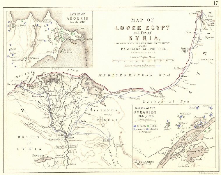 Associate Product EGYPT CAMPAIGN 1798-1801. Battles of Aboukir 1799 & Pyramids 1798 1848 old map