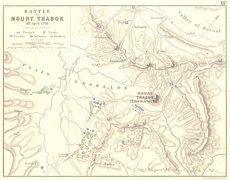 Associate Product BATTLE OF MOUNT TABOR.16 April 1799.French Revolutionary Wars.Palestine 1848 map