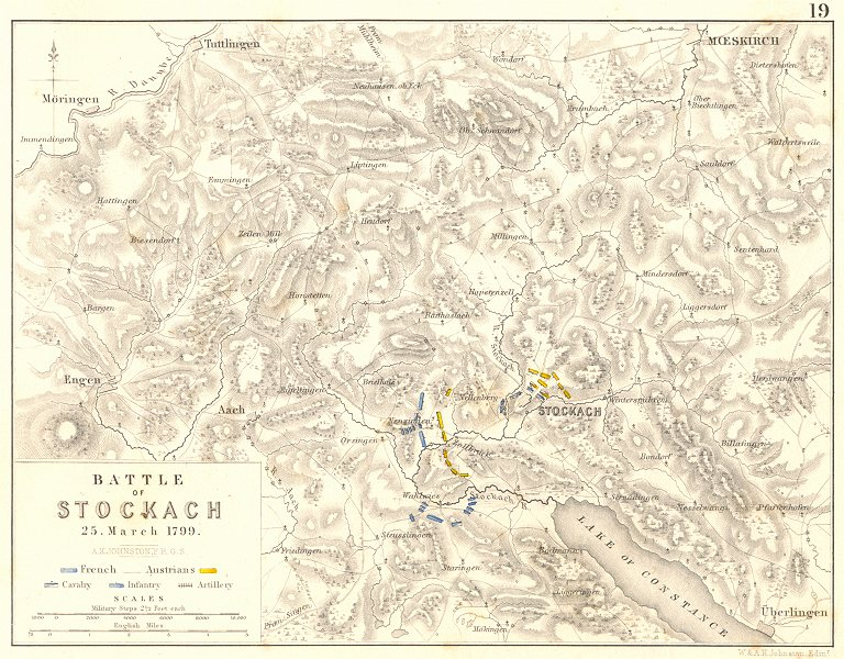 Associate Product BATTLE OF STOCKACH. 25 March 1799. Germany. French Revolutionary Wars 1848 map