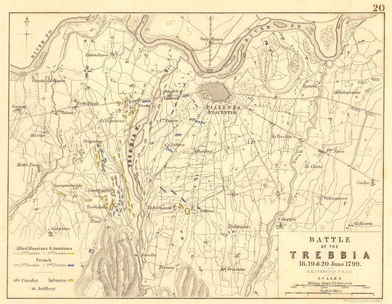 Associate Product BATTLE OF THE TREBBIA. 18th, 19th, and 20th June 1799. Italy. Piacenza 1848 map