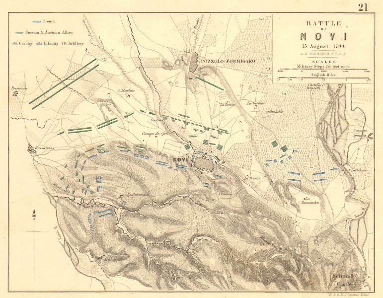 Associate Product BATTLE OF NOVI. 15 August 1799. Pozzolo Formigaro. Italy 1848 old antique map