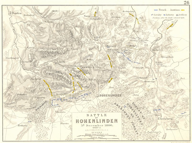 Associate Product BATTLE OF HOHENLINDEN. 3rd December 1800 - sheet 2. Germany 1848 old map
