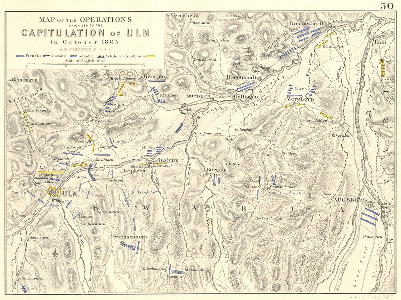 Associate Product CAPITULATION OF ULM. October 1805. Germany. Napoleonic Wars 1848 old map