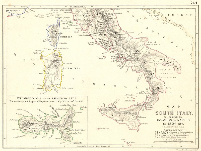 Associate Product INVASION OF NAPLES 1806. Napoleonic Wars. Elba. Southern Italy 1848 old map
